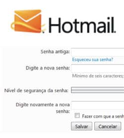 mudar senha Windows Live Hotmail