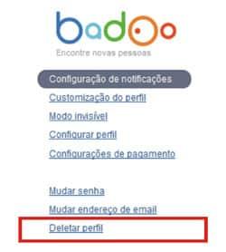 Deletar conta Badoo