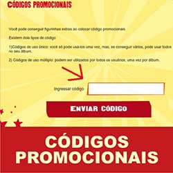 Códigos Promocionais Álbum Virtual Copa