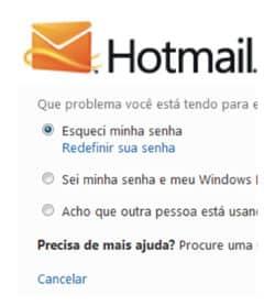 Recuperar senha Hotmail