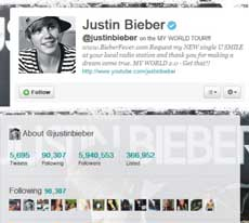 Twitter Justin Bieber Oficial