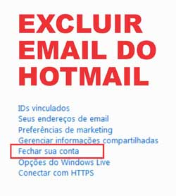 Excluir conta email Hotmail