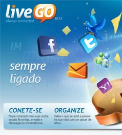 LiveGo MSN Twitter Facebook email