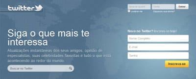 Criar perfil Twitter português