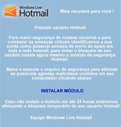 Mensagem bloqueio Hotmail