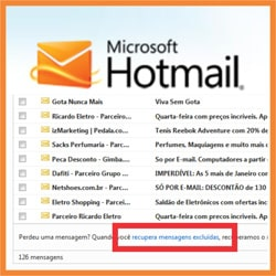 Recuperar emails apagados Hotmail