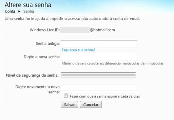 Trocar senha Hotmail MSN