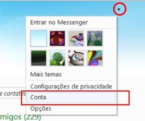 Configurações conta Hotmail