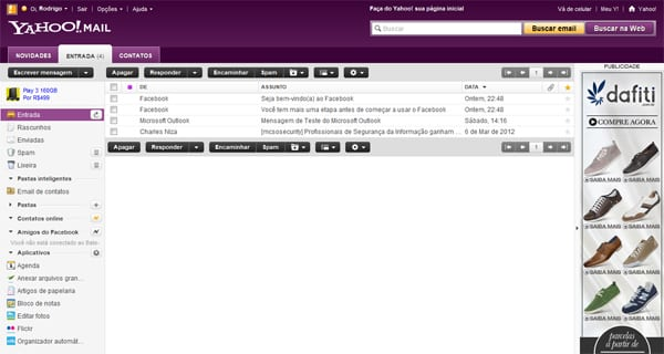 Interface novo Yahoo Mail