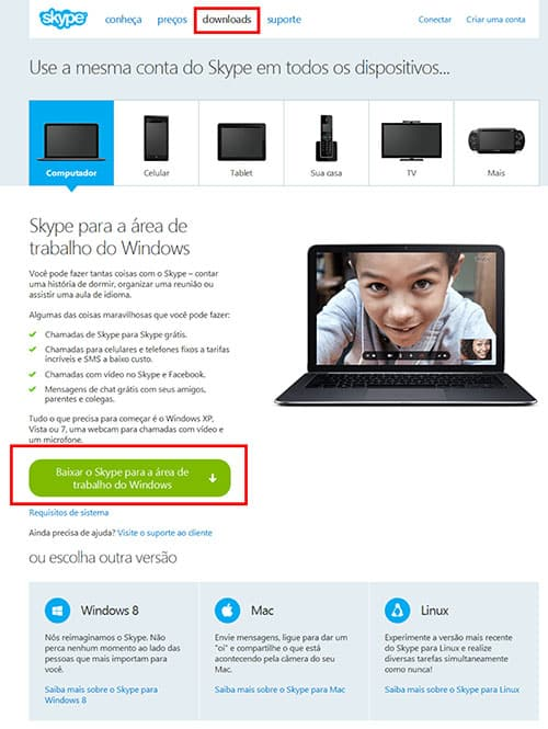 Download Skype computador baixar