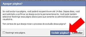 Confirmar exclusão página Facebook