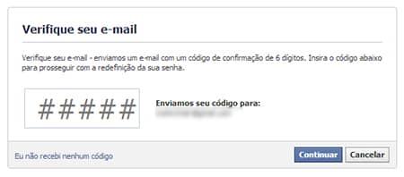 Verificar email recuperar senha Facebook